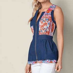 VENUS Zip Front Denim Top NWOT Blue